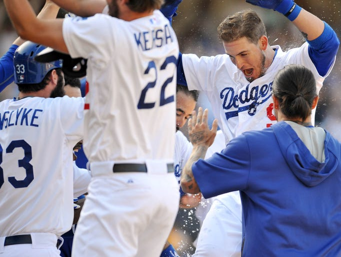 May 3: Dodgers catcher Yasmani Grandal approaches home