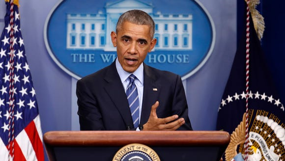 President Obama speaks during a news conference in
