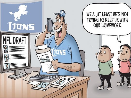 Winner of the Lions NFL Draft cartoon caption contest.