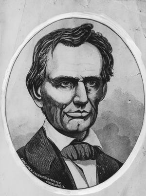 An engraving of Abraham Lincoln, made by Fahnestock, Engravery, & Printer, Indianapolis. (2/11/1941)
