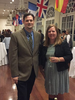 John Harper pictured with Sarah-Elizabeth Gundlach, curator, Louisiana State Museum, Louisiana Historical Center, at the Louisiana Colonial Documents Digitization Project reception in New Orleans.