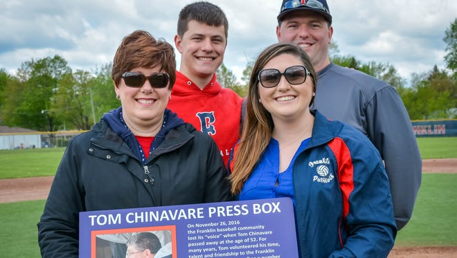 The memory of Tom Chinavare was honored during the Livonia Baseball City Championship at Livonia Franklin. Holding a plaque that later was installed on the press box at Alumni Field are Tom's widow, Sue Chinavare (front left) and daughter Kathryn Chinavare. Standing (from left) are sons Joe and Jack Chinavare.