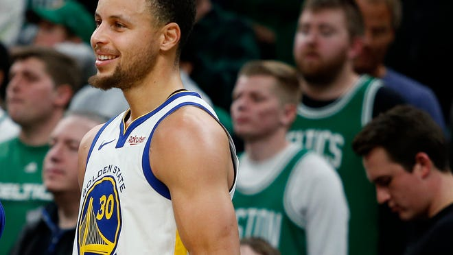 Jan 26, 2019; Boston, MA, USA; Golden State Warriors guard Stephen Curry (30) smiles during the second half of a 115-111 victory over the Boston Celtics at TD Garden. Mandatory Credit: Winslow Townson-USA TODAY Sports