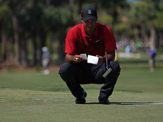Tiger Woods looks over his notes on the 3rd green during