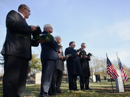A memorial service at Cedar Lawn Cemetery in Paterson on Saturday November 11, 2017. The service is held as a marker is put on the grave of Charles McMurtrie, a Civil War veteran from Paterson who died in the 1880s and whose grave had been unmarked until his great great granddaughter, Maureen Clary of SC, tracked down his existence and history. The Improved Order of the Red Men spoke during the service.