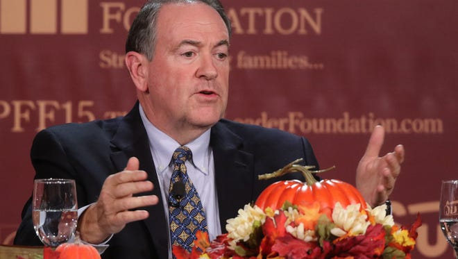 Republican presidential candidate, former Arkansas Gov. Mike Huckabee speaks at the Presidential Family Forum in Des Moines Friday, Nov. 20, 2015.
