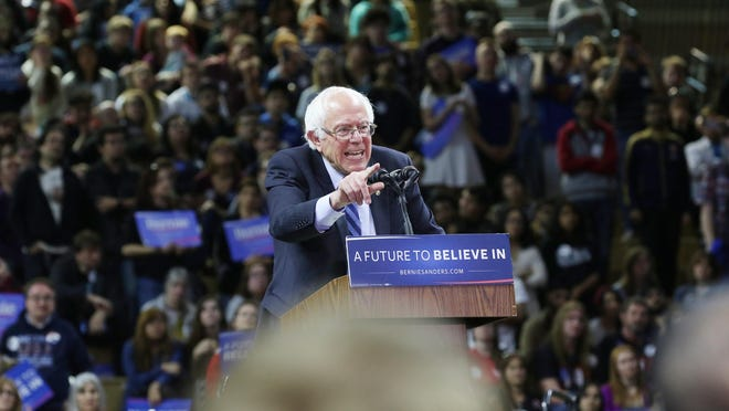 Bernie Sanders speaks at a rally at Rutgers Athletic Center in Piscataway on May 8, 2016.