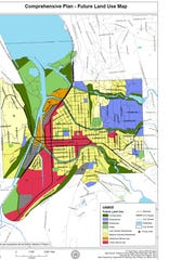 Plan Ithaca, Phase I of the draft comprehensive city plan for Ithaca, includes this general map of land uses.