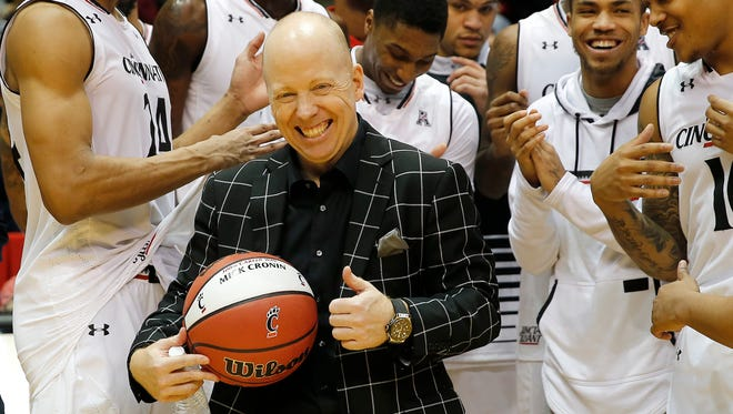 University of Cincinnati head coach Mick Cronin got his 300th win, after the Bearcats beat Tulsa, 80-60 at Fifth Third Arena Saturday.