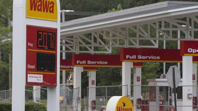 Gas signs at Wawa in Stafford Township.