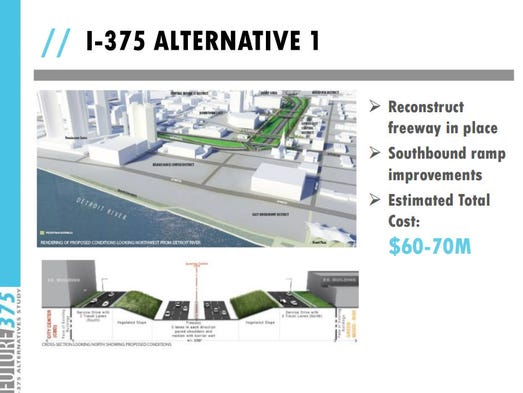 Alternative proposals for the I-375 freeway.