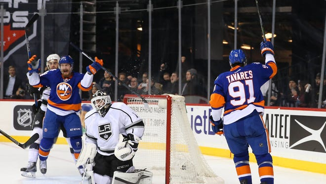 New York Islanders center John Tavares (91) celebrates his goal during the second period against the Los Angeles Kings at Barclays Center.