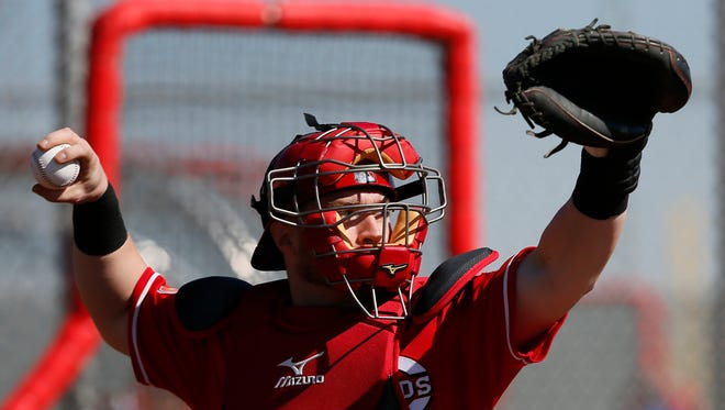 Reds catcher Tucker Barnhart throws to second base during defensive drills on Saturday.