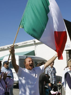 Saverio Minervini of Brick shows his Italian pride at the 24th annual Ocean County Columbus Day Parade in Seaside Heights October 11,2015.