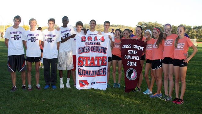 Johnston's cross country teams showed off their state qualifying banners last fall.