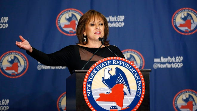 In this April 14, 2016, file photo, New Mexico Gov. Susana Martinez speaks during the New York Republican State Committee Annual Gala.
