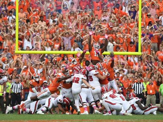 North Carolina State place kicker Kyle Bambard (92) misses a field goal wide right against Clemson sending the game into overtime on Saturday, October 15, 2016 at Clemson's Memorial Stadium.