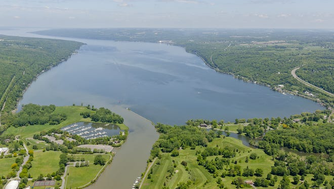 Cayuga Lake with Cass Park, left, and Newman Golf Course, lower right, in May 2014.