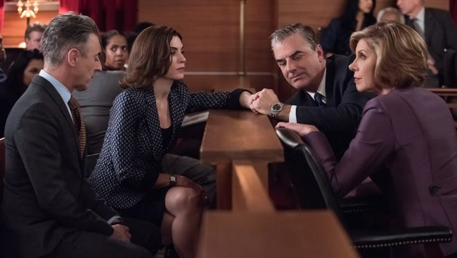 """Alan Cumming, Julianna Margulies, Chris Noth and Christine Baranski in the penultimate episode of the CBS series, """"The Good Wife."""""""