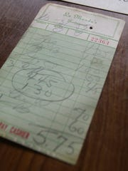 A view of a receipt from 1950's where a plate of spaghetti cost only $1.25 at La Manda's.
