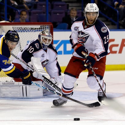 Jerry D'Amigo, right, plays for the Columbus Blue Jackets'