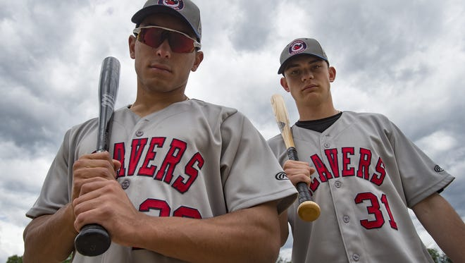 Jerome McKenzie and Joseph Kohlhase pose for a portrait at City Park on Saturday, June17, 2017. The catcher and infielder for the Windsor Beavers are visiting from Auckland, New Zealand.