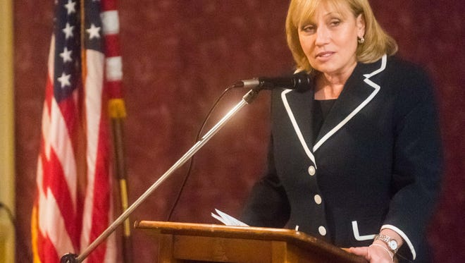 Lt. Governor Kim Guadagno delivers a speech on the 14th Ammendment during the Law Day Breakfast at Terrigno's Fairfield Inn in Bridgeton on Monday, May 1.