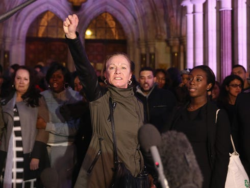Carol Duggan, aunt of Mark Duggan, speaks to reporters outside The Royal Courts of Justice on Jan. 8, 2014, in London.