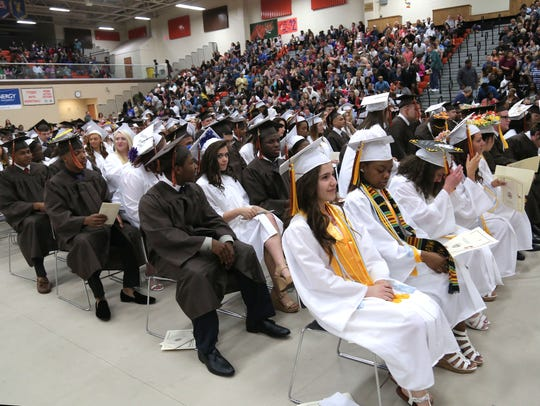During the Mansfield Senior High School commencement