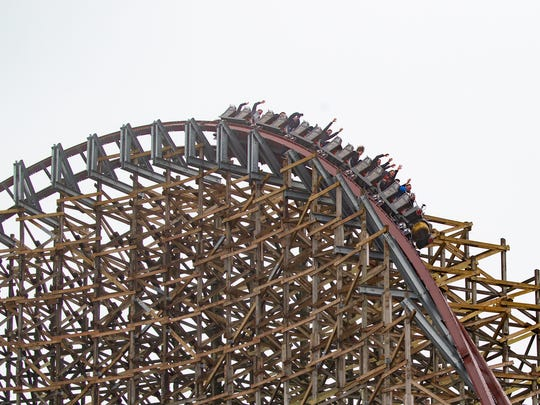The Steel Vengeance completes a 116-foot-high curve, unusual in that the curve banks outward, creating an unnerving feeling like the rider could fall out.