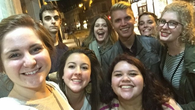 Eight Escadrille Louisiane participants discover the Rennes, France, where they are spending their 2016-2017 school year. (Left-to-right front) Hannah Bergeron, Mamie Lane and Genesis Rodas, Stephen Meaux, Taylor Deville, Evan Arceneaux, Margot Marks and Kelsi Dougherty