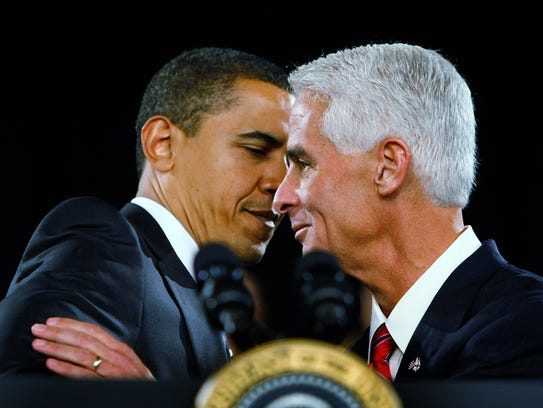 President Obama and then-Florida Governor Charlie Crist