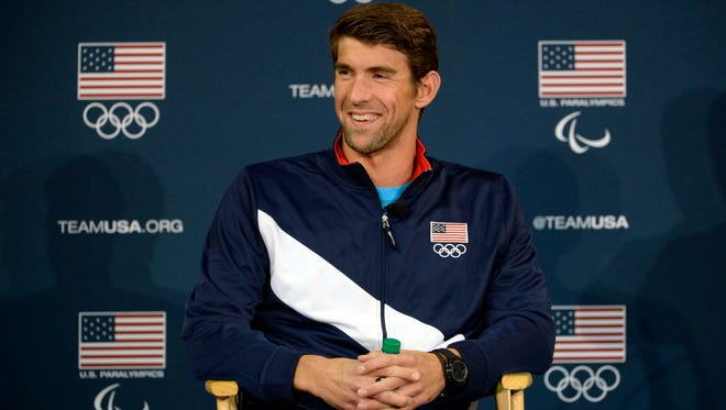 Michael Phelps speaks to the media at a press conference during the 2016 Team USA Media Summit on March 9, 2016.