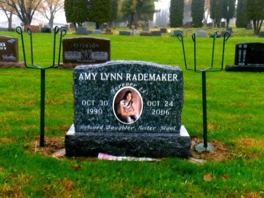 The grave of Amy Rademaker, who was killed in a 2006 car accident in Wisconsin in a Chevy Cobalt.