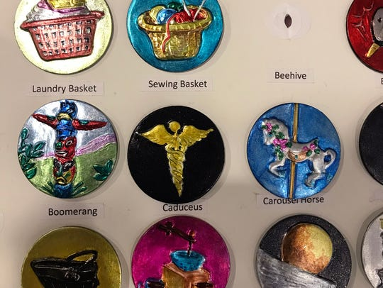 Shirley Burgess makes these buttons by manipulating