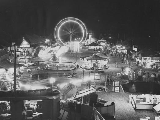 The midway lights up a night at the Marion County Fair in 1951. The 2014 fair is June 20-29 at the Marion County Fairgrounds, 7300 E. Troy Ave., Indianapolis.
