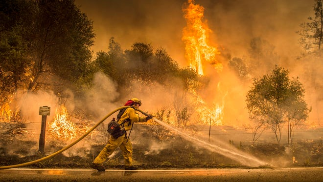 A Cal Fire firefighter waters down a back burn on Cloverdale Rd., near the town of Igo, Calif., Saturday, July 28, 2018. The back burn kept the fire from jumping towards Igo, Calif. Scorching heat, winds and dry conditions complicated firefighting efforts.