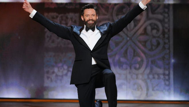Host Hugh Jackman performs onstage at the 68th annual Tony Awards at Radio City Music Hall on Sunday.