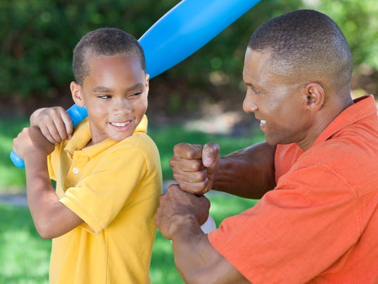 African American Man and Boy Father & Son Playing Baseball