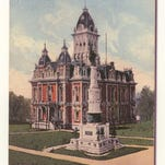 This is a postcard from about 1910 showing the Randolph County Courthouse and monument. The Civil War monument is among the historical ties to the war being recognized Saturday at a concert.