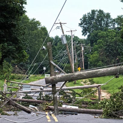 Storm damage on Union Road in East Greenwich in Gloucester