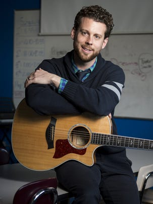 Music education teacher Michael Walton in his classroom