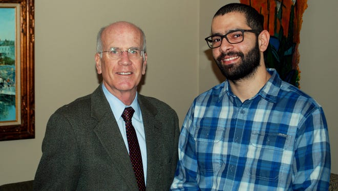 Rep. Peter Welch, left, with former Iraqi translator Ahmed Alsaeedi, who now lives in Burlington and works as a counselor at Vermont Refugee Resettlement Program. Alsaeedi will be Welch's guest at President Trump's first speech before a joint session of Congress on Tuesday.
