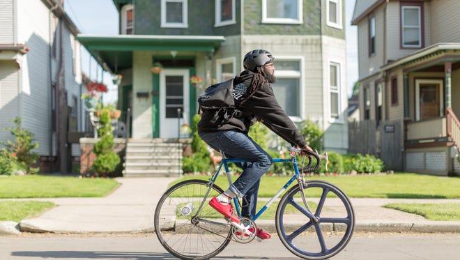 Jason Hall on his bike.