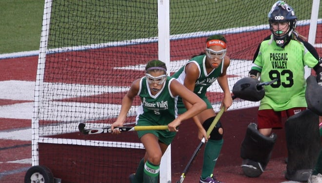 Passaic Valley team captains: (from left) Mariah Tovar, Emily Hyde and Samantha LaRusso (goalie).