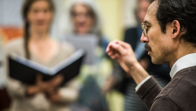 Michael Arnowitt rehearses Monday night at St. Michael's College. The concerts the pianist is presenting this weekend in Burlington and Montpelier are intended to raise money for Syrian refugees, but also to raise awareness of the rich culture that runs so deep in Syria.