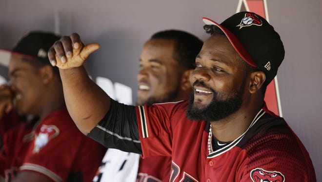 Arizona Diamondbacks pitcher Fernando Rodney smiles after his performance against the San Diego Padres in the 4th inning during spring training action on Mar. 2, 2017 at Salt River Fields in Scottsdale, Ariz.