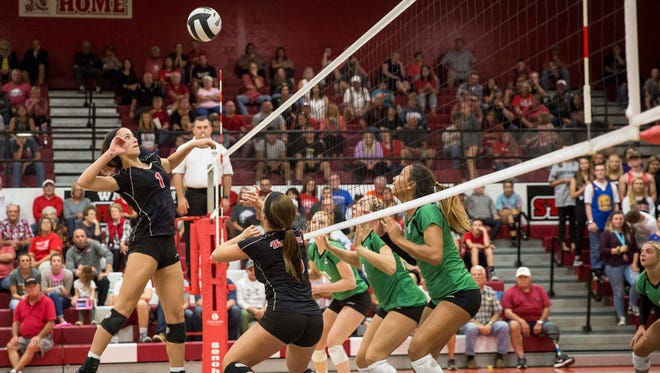 Yorktown and Wapahani went head to head in the quarter-finals of the Delaware County Volleyball Tournament on Sept. 28 at Wapahani High School. Yorktown won the game 3-1.