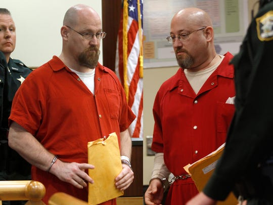 Murder suspects Curtis Wayne Wright, left, and Mark Sievers appear in the same courtroom Friday during a child custody hearing in Fort Myers.