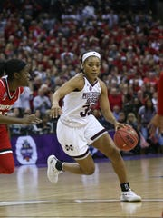 Mississippi State's Victoria Vivians (35) drives to the lane. Mississippi State played Louisville in the semifinal round of the NCAA Women's Basketball Tournament in Columbus, Ohio, on Friday, March 30, 2018. Photo by Keith Warren
